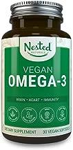 VEGAN OMEGA 3 – Better than Fish Oil | 30 Capsules Algal DHA and EPA | Quality Plant Based Prenatal Omega-3 Brain Supplement | Vegetarian Fatty Acids Supplements | Made from Algae Oil - No Fishy Burps