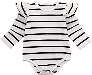 Infant Baby Girls Long Sleeve Bodysuit Romper Ruffle Fly Sleeve Triangle Cotton Jumpsuit