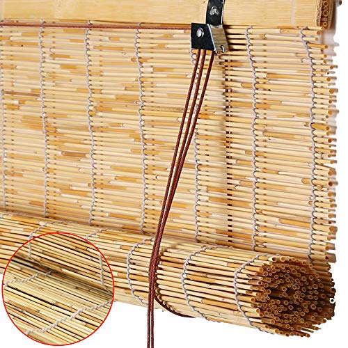 LHJJ Vintage ReedRoller Shades, Bamboo Blinds in Primary Colors, Sunscreen/Waterproof, Hand-Woven Curtains for Partitioning/Shading/Sunscreen