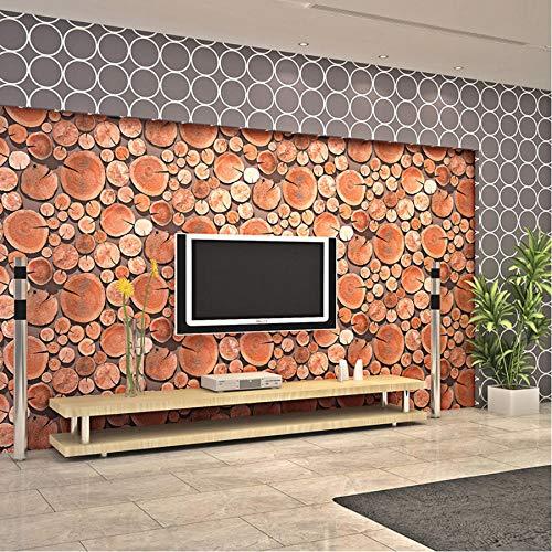 Hwhz 3D Stereo Retro Sims Holz Holzstapel Tapeten Bar Schlafzimmer Wohnzimmer Tv Hintergrundbild-400X280Cm