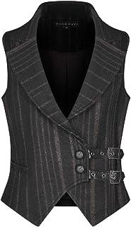 Punk Rave Gentleman Steampunk Striped Wool Waistcoat Gothic Gorgeous Men's Military Uniform Vest