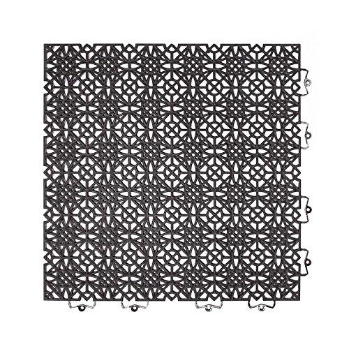onloom Kunststofffliese Terra Sol 38x38 cm, Bodenfliese mit Klicksystem, belastbar, Größe:38x38cm, Farbe:Schwarz