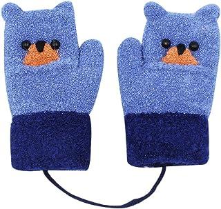 Knit Mittens Kid Boys Girls Warm Thick Cuff Full Finger Gloves Cute Bear Fleece-lined Winter Gloves