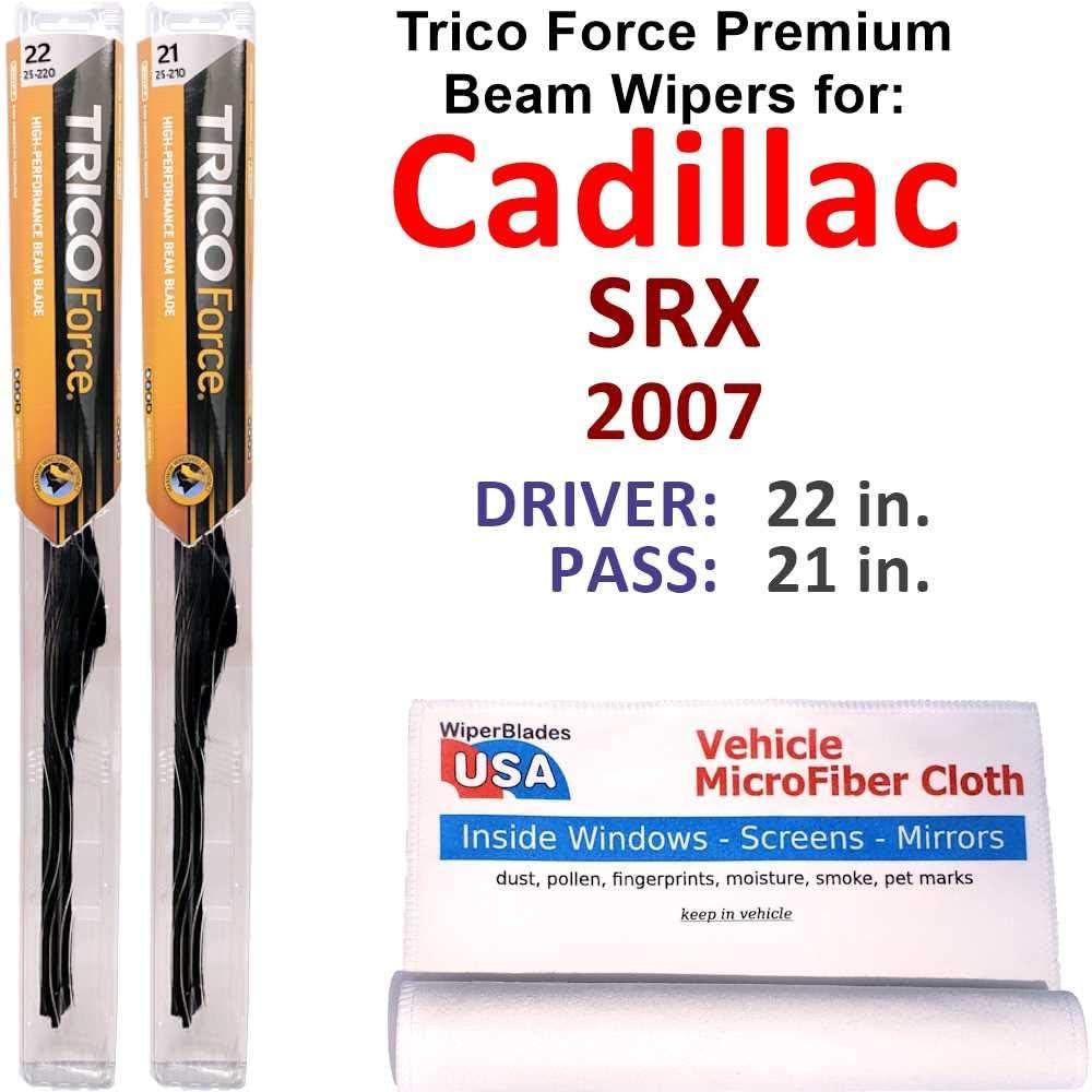 Premium Beam Wiper Blades for 価格交渉OK送料無料 2007 Force Set Trico 新品■送料無料■ SRX Cadillac