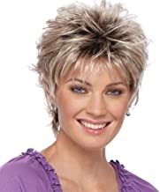 SEVENCOLORS Short Curly Wigs for Women Colorful Fluffy Bob Hair Wigs with Bangs Natural Looking Synthetic Daily Party Wig with Free Wig Cap