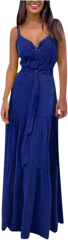 GCETTIC Dresses for Women, Summer Casual Women Sexy V-Neck Long Maxi Dress Sleeveless Party Cami Long Dress
