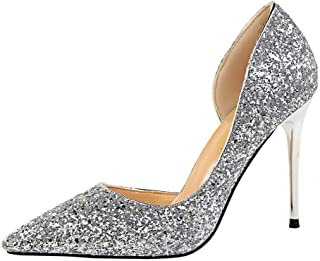 BalaMasa Womens APL12200 Spikes-Stilettos Dress Closed-Toe Silver Pu Heeled Sandals - 3 UK (Lable:35)
