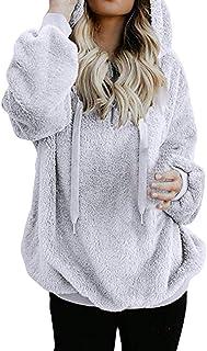 LOPELY Half Zip Up Teddy Fresh Hoodie Super Soft Fur Hooded Coat Childish Hoodie Hoodie Sweatshirt Hooded Top Solid Color Drawstring Fleece Hooded Top