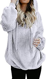 Pgojuni Womens Hooded Faux Fur Coat Long Sleeves Pullover Winter Zipper Pockets Cotton Coat Outwear