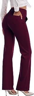 HISKYWIN Womens High Waist Yoga Pants 4 Way Stretch Tummy Control Workout Running Pants, Long Bootleg Flare Pants