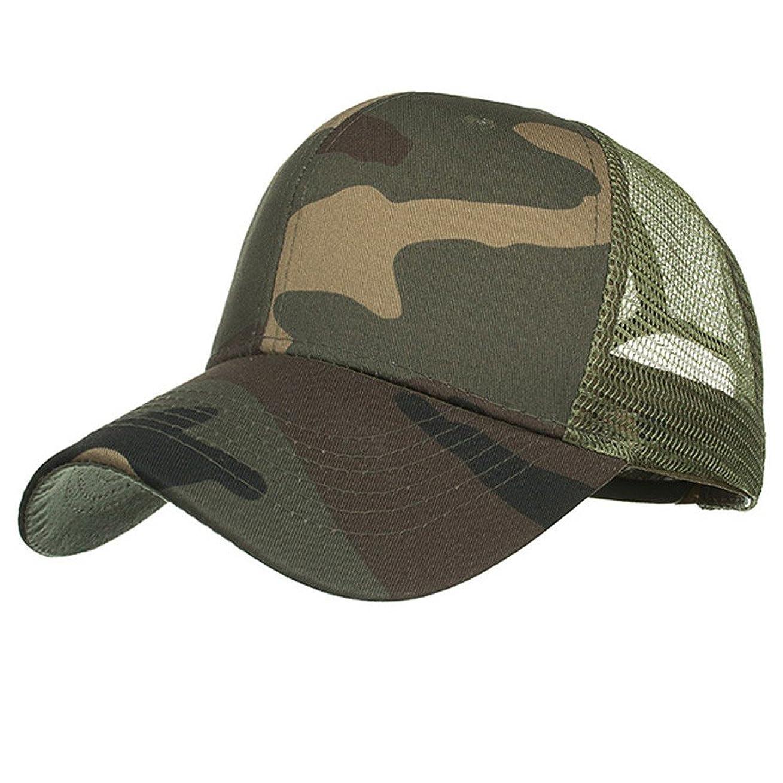 輪郭合体糞Racazing Cap 迷彩 野球帽 メッシュステッチ 通気性のある 帽子 夏 登山 可調整可能 刺繍 棒球帽 UV 帽子 軽量 屋外 Unisex Hat (A)