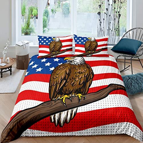 Juego de funda nórdica con diseño de animales safari, diseño de bandera americana, 3 unidades con cremallera, tamaño king