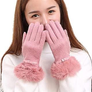 SGJFZD Winter Gloves Cashmere Genuine Elegant Bowknot Glove for Lady Windbreak Gloves (Color : Pink, Size : One Size)