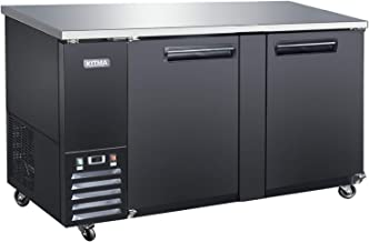 69'' Wide 2 Door Back Bar Beverage Cooler - KITMA Stainless Steel 21.5 Cu.Ft Counter Height Refrigerator with LED Lighting, 33°F - 38°F