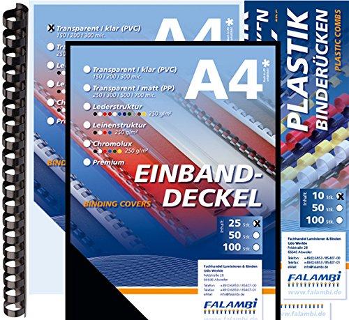100 teiliges Starterset für Plastikbindegerät - Binderücken 6-14mm, Einbanddeckel, Deckelfolien