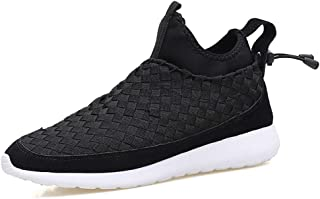 ZUAN Comfortable Breathable Outside Linear Sneakers for Men Soft Fabric Upper Fashion High Top Board Shoes Woven Anti-slip Lace Up Round Toe