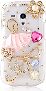 STENES Alcatel OneTouch Fierce XL Case - [Luxurious Series] 3D Handmade Shiny Crystal Bling Case with Retro Bowknot Anti Dust Plug - Ballet Girl Music Heart Flowers/Pink