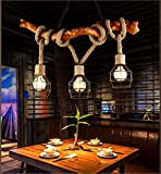 Vintage Holz Kronleuchter Industrie 3 Lichter Seil Kronleuchter Metall Draht Käfig Lampe Loft Rustikale Deckenleuchte Innen Retro Beleuchtung (nicht Glühbirnen)