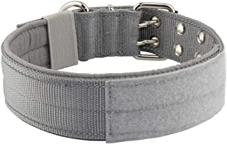 Yunleparks Highly Reflective Dog Collar Tactical Dog Collar with Comfortable Soft Lining Padded and Heavy Duty Metal Buckle for Medium and Large Dogs,1.5