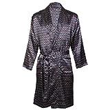 Octave® - Kimono / robe / robe de chambre en satin de luxe imprimé d'été pour hommes -  Bleu - Large