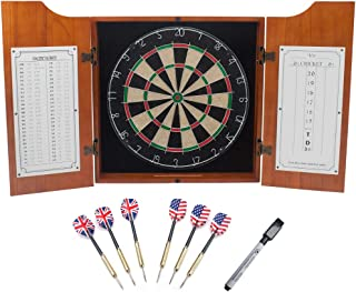 Solid Wood Dartboard Cabinet Set with Bristle Dart Board & 6 Darts (Oak)
