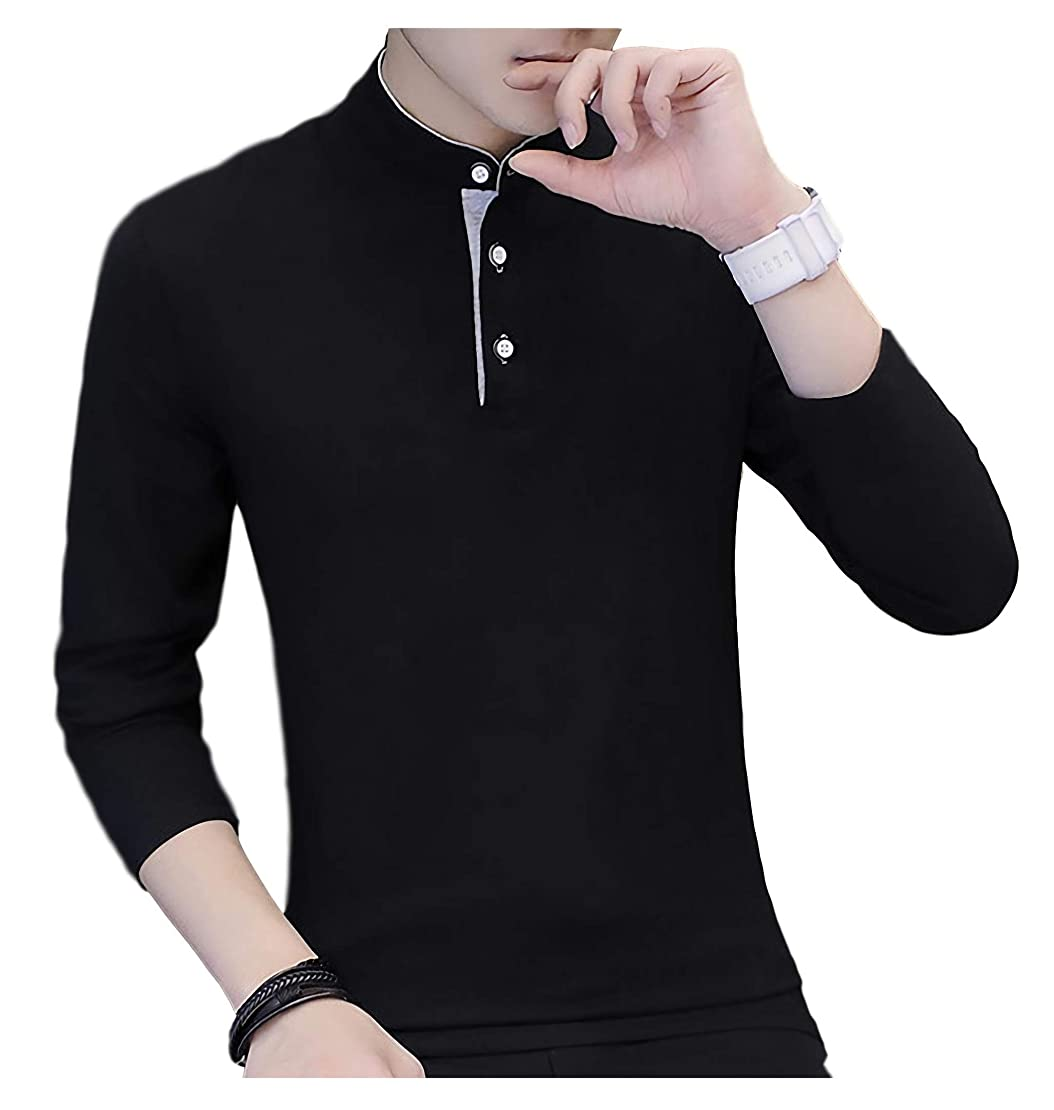 ジム側溝理由[Limore(リモア)] スタンドカラー ロンt カジュアル ポロシャツ シンプル 立ち襟 バンド カラー シャツ 長袖 メンズ