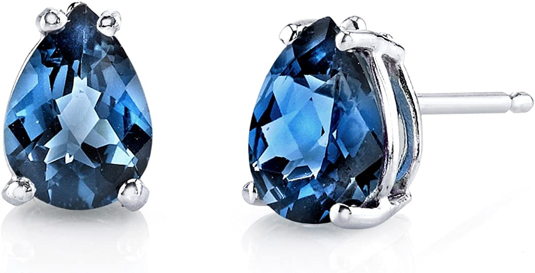 Peora London Blue Topaz Earrings for Women in 14 Karat White Gold, Classic Solitaire Studs, 7x5mm Pear Shape, 1.50 Carats total, Friction Back