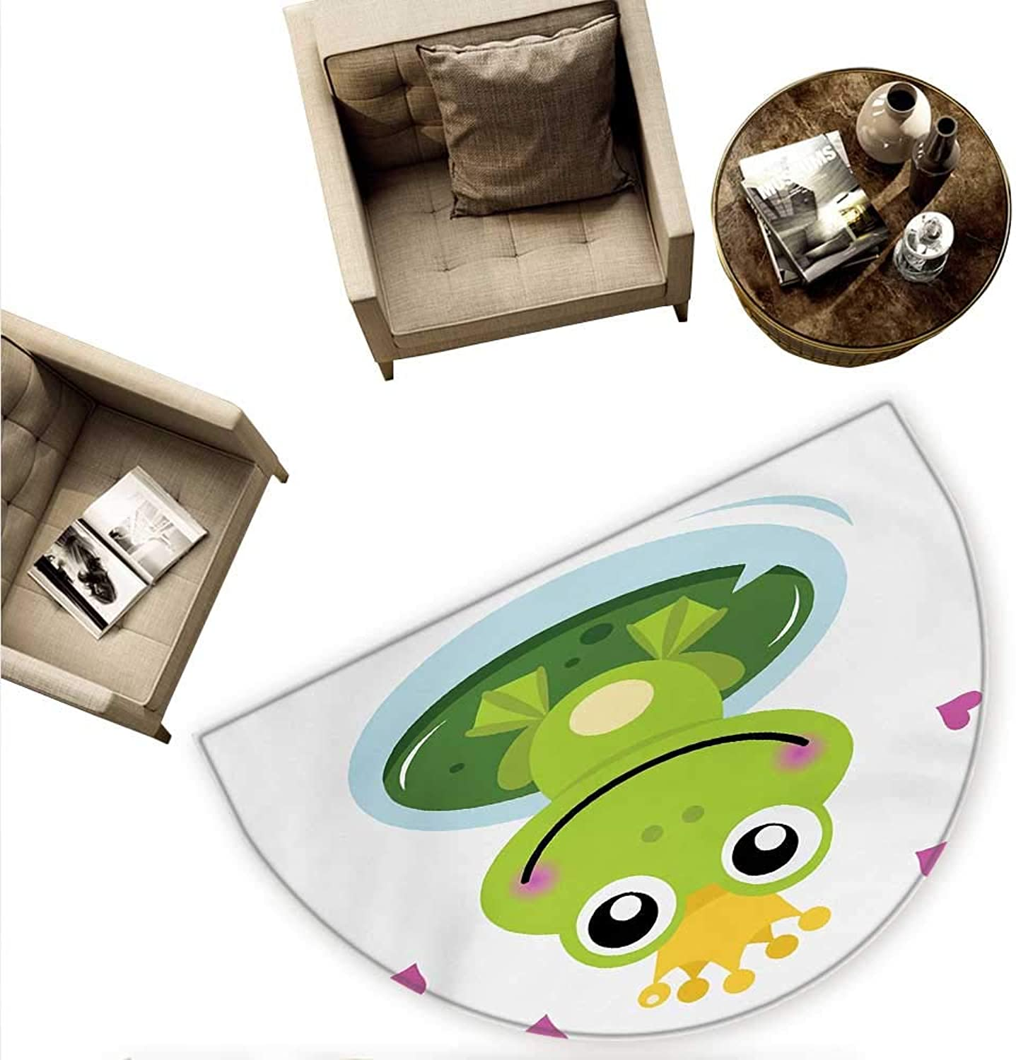Animal Half Round Door mats Cartoon Cheerful Frog Prince with a Crown and Hearts Fairy Tale Character Doodle Bathroom Mat H 55.1  xD 82.6  Multicolor