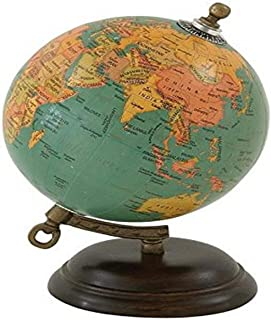 "Deco 79 Wood Metal PVC Globe 5"" W, 8"" H-24983, 5"" x 8"""