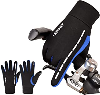 男性の春と秋の冬の運転のタッチスクリーンの防水とwindproofノンスリップ屋外スポーツフィットネスハイキング運動暖かい寒さプラスベルベット綿プラスベルベット手袋女性 (色 : Black blue)