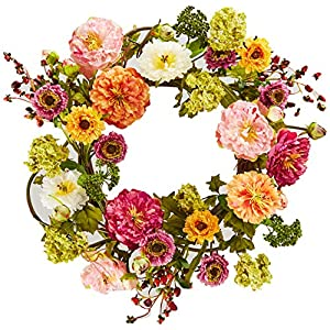 Silk Flower Arrangements Nearly Natural 24in. Peony Wreath, 24 inches round, Mixed
