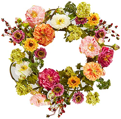 Nearly Natural 24in. Peony Wreath