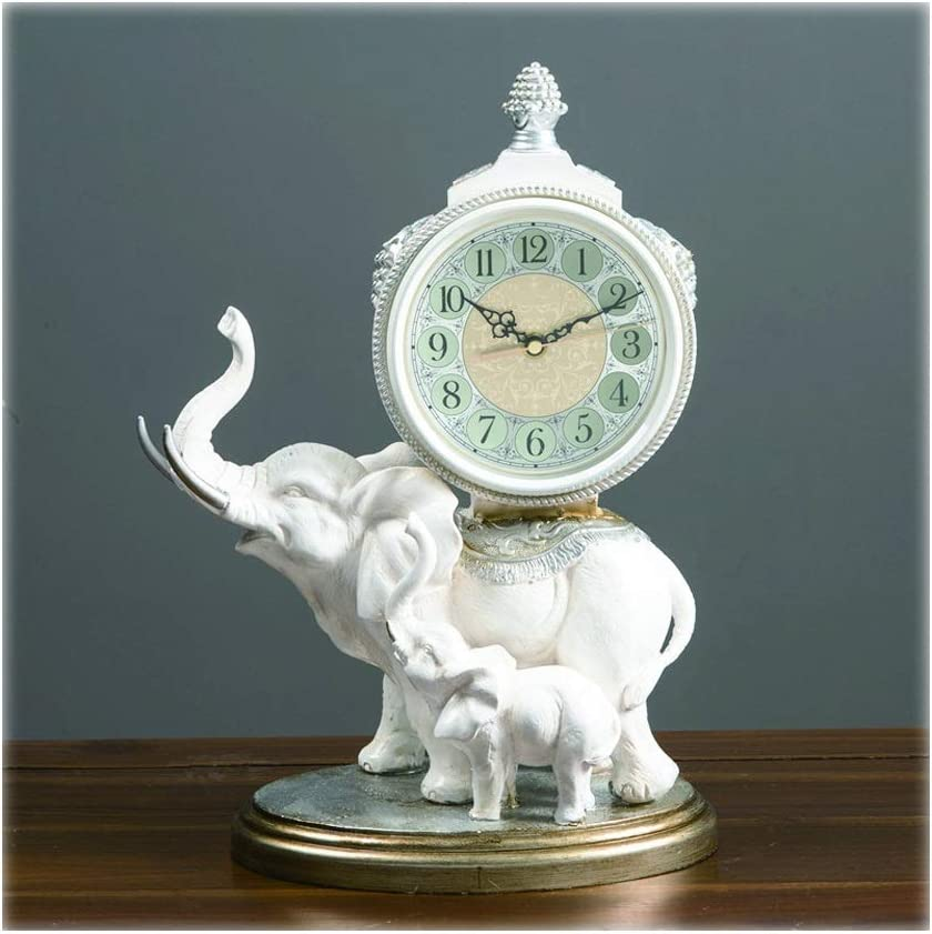 hanxiaoyishop Desk Clock 15.4 Inch It is very popular White Elephant Shape Selling and selling Table Cl