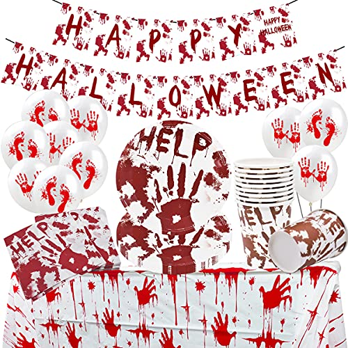 Halloween Tableware -Tomicy 52 PCS Party Supplies Tableware Serves, Halloween Blood Handprint, Halloween Balloons, for 8 Guests with Paper Plates, Paper Cups, Napkins