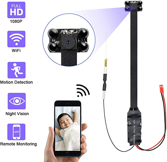 Mini Camara Espia OcultaUYIKOO 1080P Mini WiFi Camara Espia de Seguridad Inalámbrica portátilCamaras de Seguridad Pequeña Detección de Movimiento con Visión Nocturna para iPhone/Android