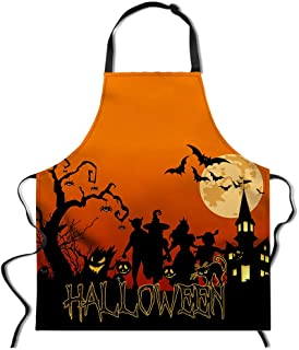 Cozeyat Halloween Apron, Unisex in Kitchen Witches Full Moon Traditional Celebration Adjustable Neck Gift