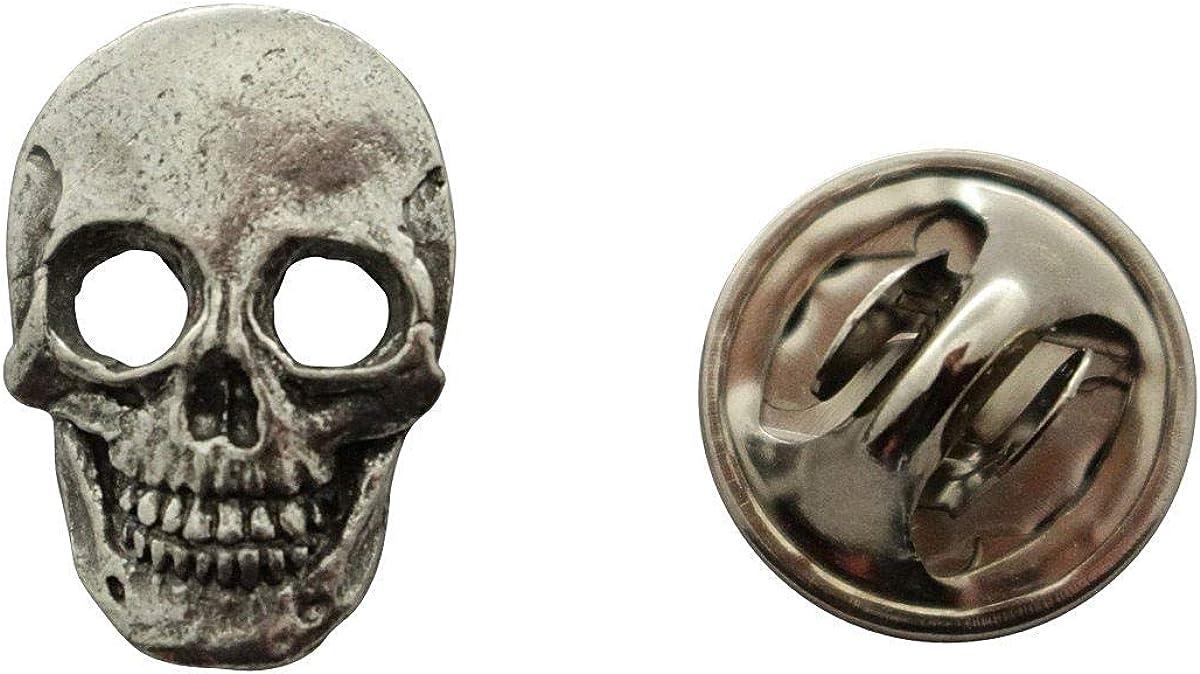 Skull Mini Pin ~ Antiqued Pewter ~ Miniature Lapel Pin ~ Sarah's Treats & Treasures