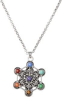 Sacred Geometry 7 Chakra Healing Crystals Necklace, Reiki Stones Pendant Jewelry