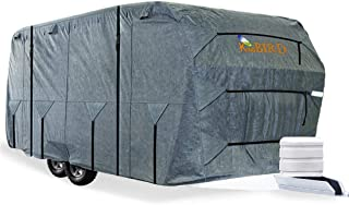 Extra-Thick 4-Ply Top Panel & Extra 2Pcs Reinforced Straps, KING BIRD Deluxe Camper Travel Trailer Cover, Fits 30'- 33' RV...