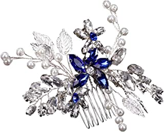 Wedding Bridal Hair Comb, Leaf Shape Crystal Side Comb for Brides Headpiece Hair Accessories Blue and Silver
