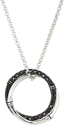 Bamboo Lava Medium Interlink Pendant On Mini Rolo Chain Necklace with Black Sapphire