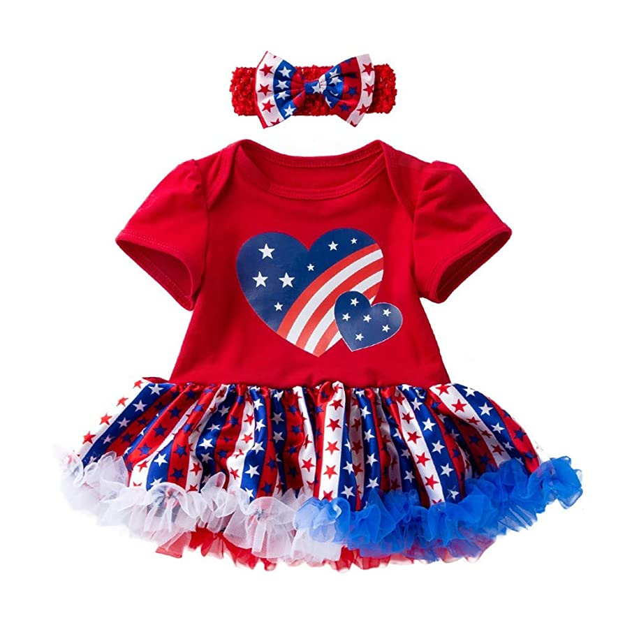 Rolayllove Toddler Baby Girl Dress 4th of July Party Princess Tutu Dresses Little Girls Colorful Costume Headband(3-24M)