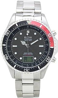 [エルジン]ELGIN 腕時計 電波ソーラー 1ポイント天然ダイヤ オールステンレス 日本製ムーブ 逆回転防止ベゼル レッド FK1400S-BRP メンズ