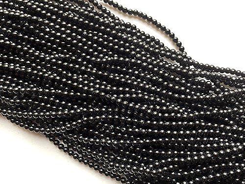 1 rang Natur SchwarzSpinell Perlen, Spinell Schwarzuni rund Perlen, Spinell Schwarzrund Kugeln, SchwarzSpinell Halskette, 3,5–4 , 35,6cm