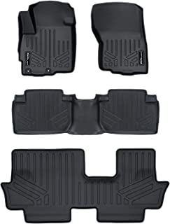 SMARTLINER Custom Fit Floor Mats 3 Row Liner Set Black for 2011-2019 Mitsubishi Outlander (No Outlander Sport Models)