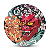 QINGQING Wall Clock Gothic Style Red Oni Demon Mask Acrylic Wall Clock Japanese Dragon Peony Flower Wall Art Japan Sherpa Evil Home Decor Timepiece