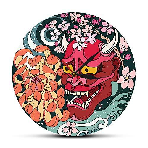 12 pollici (30 cm) gotico rosso Oni demone maschera orologio da parete giapponese Sakura peonia fiore arte della parete Giappone Sherpa male rosso morte decorazioni per la casa orologio orologio
