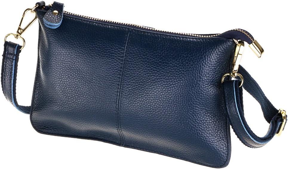 SEALINF Women's Cowhide Leather Clutch Handbag Small Shoulder Bag Purse (dark blue)
