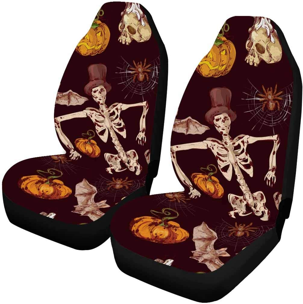 INTERESTPRINT Colored Halloween Recommendation 55% OFF Witch Bat Car Cover Front Seat S