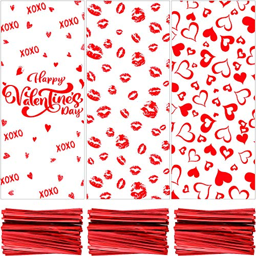 150 Bolsas de Celofán de San Valentín Bolsas de Regalos Bolsas de Golosinas Bolsas de Dulces con 150 Lazos de Torcedura para Día de San Valentín (Labios, Carazón y Happy Valentine